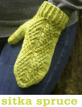 Sitka Spruce Mittens by Tin Can Knits